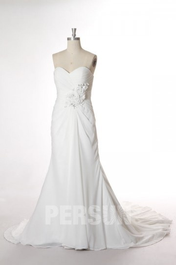 Modernes  A-Linie Empire Herz-Ausschnitt Brautkleider aus Chiffon Persun