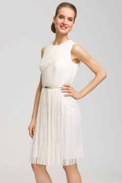 Haslemere Simple Chiffon Round Neck Pleated Short Wedding Dress