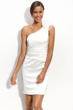 Hartlepool Satin One Shoulder Flower Ruched Column Short Wedding Gown