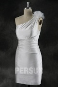 Sheath One Shoulder Flower Ruched Short Wedding Dress