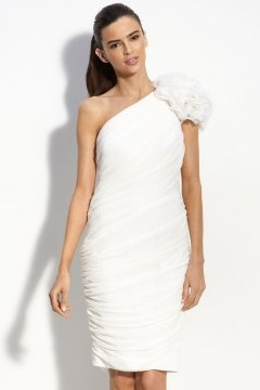 Hackney Chiffon One Shoulder Ruched Flower Knee Length Wedding Dress
