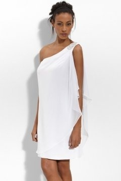 Hadleigh Casual Chiffon One Shoulder Draping Short Wedding Dress