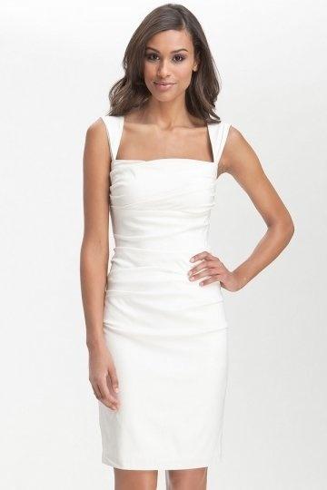 Simple Sheath Square Neck Knee Length Satin Ruching Wedding Dress