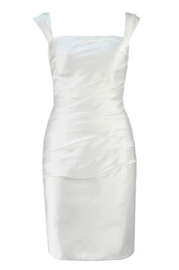 Simple Sheath Square Neck Knee Length Satin Ruching Wedding Dress