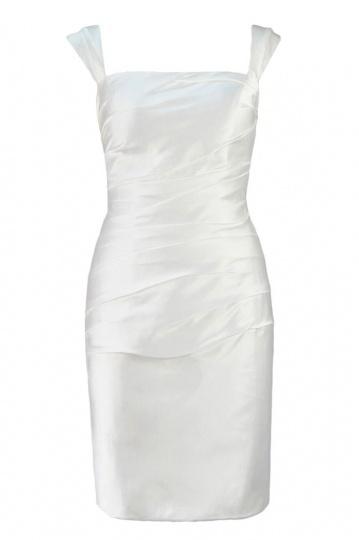 Elegantes kurzes weißes Etui-Linie Carré-Ausschnitt Cocktailkleid Persun