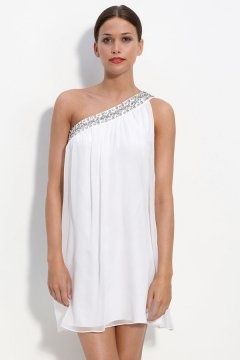 Harlow Casual One Shoulder Beading Short Chiffon Wedding Dress