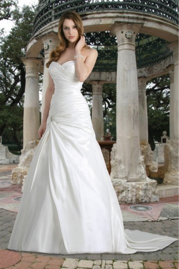 Framlingham Elegant Taffeta Sweetheart Ruching A line Wedding Dress Persun