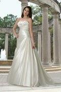 A line Strapless Pleated Satin Wedding Dress