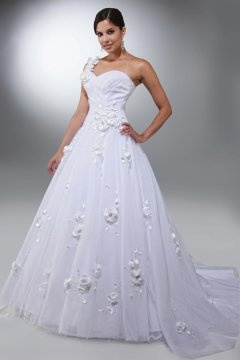Glossop Tulle One Shoulder Flowers Ball Gown Wedding Dress