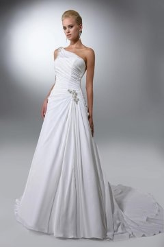 Godmanchester Chiffon One Shoulder Beaded A line Wedding Dress