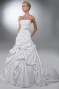 A line Strapless Beading Pick Up Skirt Satin Wedding Dress