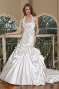 Halter Flowers Pick Up Skirt Satin Mermaid Wedding Dress