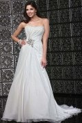 A line Strapless Beading Ruching Chiffon Wedding Dress