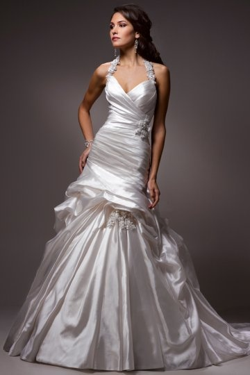 Halter Appliques Pick Up Skirt Satin Mermaid Wedding Dress