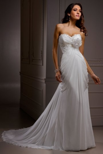 Dressesmall Beading Flower Sweetheart Chiffon A line Wedding Dress