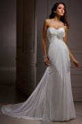 Beading Flower Sweetheart Chiffon A line Wedding Dress