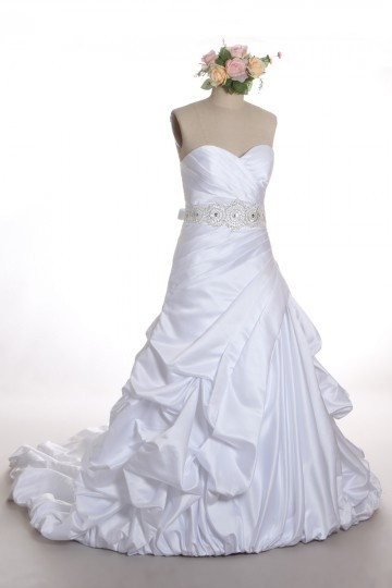 Sweetheart Satin Princess Wedding Dress with Pick up skirt