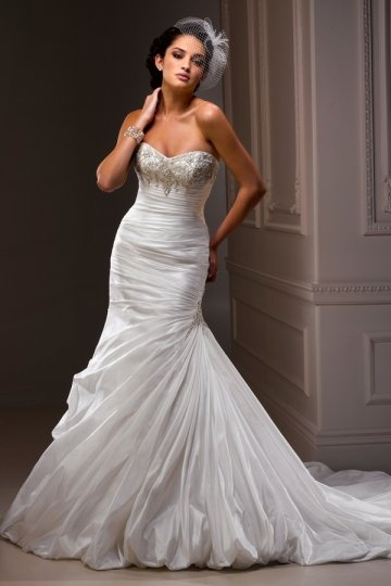 Sweetheart Beading Ruching Satin Mermaid Wedding Dress