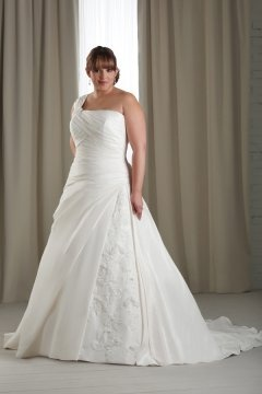 Dunstable Taffeta One Shoulder Ruching Lace Plus Size Wedding Dress