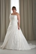 One Shoulder Ruching Lace Taffeta Plus Size Wedding Dress