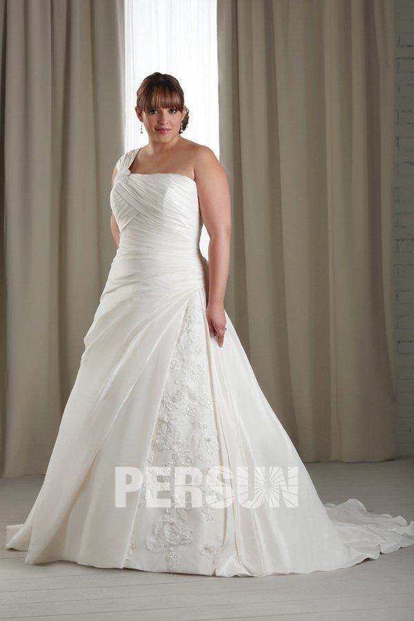 Ein-Schulter A-Linie Empire Ruching Spitze ivory Brautkleid aus Taft