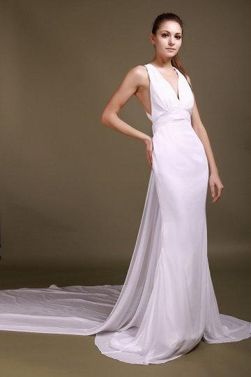 Sexy Sheath V neck Applique Chiffon Wedding Dress