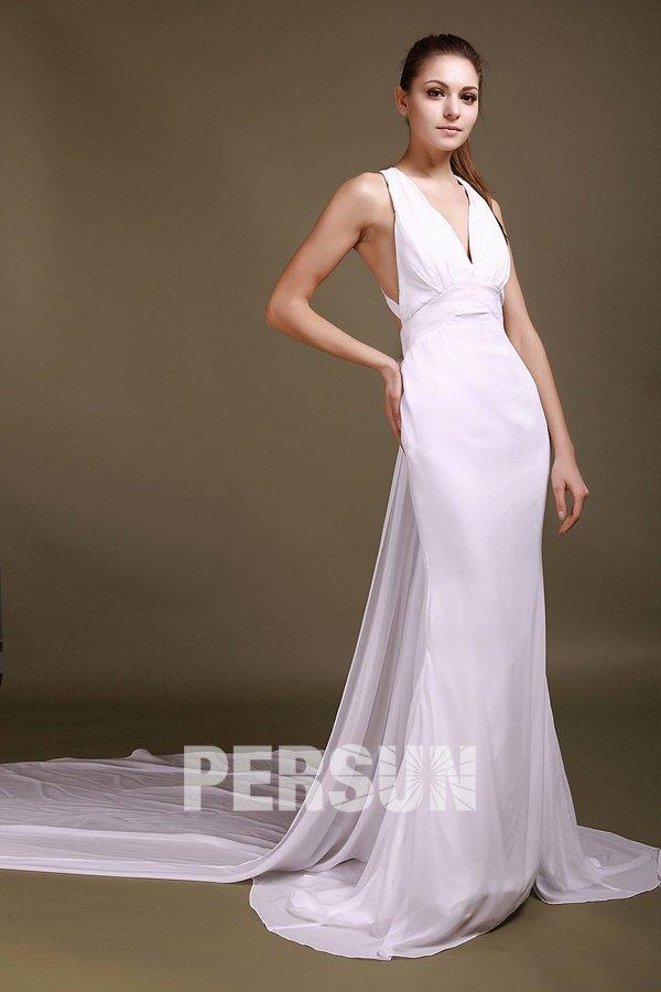 Cheap sexy sheath v neck applique chiffon wedding dress for Sexy sheath wedding dress