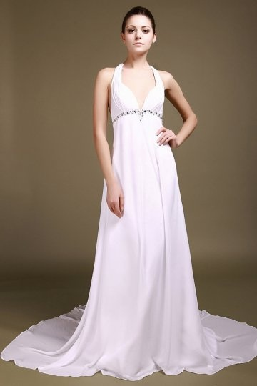 Sexy A line Halter Beading Chiffon Wedding Dress