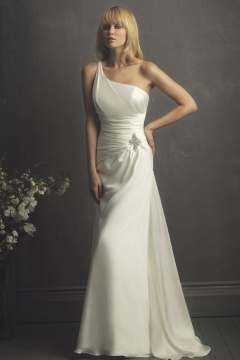 Backless Elegant Beaded One Shoulder Chiffon Wedding Dress