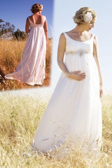 Schlichtes A-Linie Rund-Ausschnitt ivory Empire Brautkleider aus Chiffon Persun