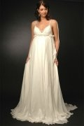 A line V neck Beading Chiffon Maternity Wedding Dress