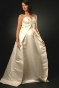 A line V neck Ruched Satin Maternity Wedding Dress