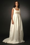 Pleated Square Neck Flower A Line Taffeta Maternity Wedding Dress