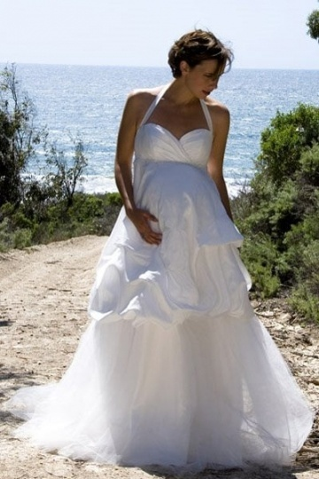 Chic Halter Satin Sweep Train Pick Up Skirt Maternity Wedding Dress