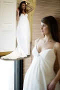 Gorgeous V Neck Chiffon A Line Court Train Maternity Wedding Dress