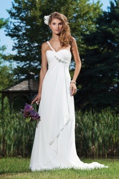Hove Hucknall Chiffon One shoulder Ruched Beading Wedding Dress