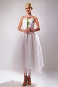 Modern Trapezoid Tulle White Strapless Plus Size Formal Bridesmaid Dress