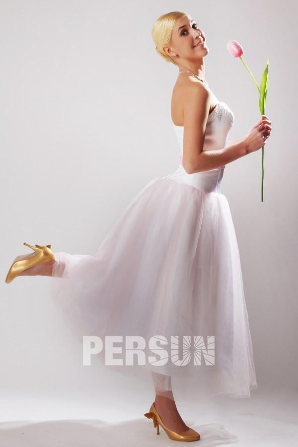 robe mi longue rose p le bustier c ur pour cort ge mariage. Black Bedroom Furniture Sets. Home Design Ideas