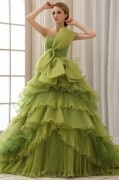 Elegant Solid Ruffle Bow A line Strapless Back Lace Up Court Train Organza Wedding Dress