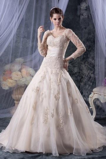 Palácio cor do vestido de noiva decote em v mangas 4/5 longas renda apliques em organza