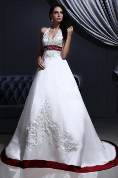 Court train White Vintage Halter Empire Buttons Wedding ball gown