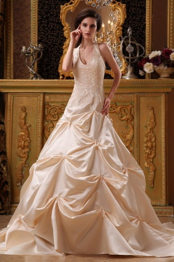 Satin Applique & Beading Halter Chapel A-Line Bridal Gown Wedding Dress