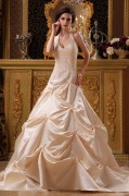 Satin Applique & Beading Halter Chapel A Line Wedding Dress