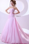 Taffeta Applique Ruffle Strapless Chapel A line Wedding Dress