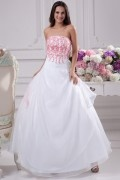 Elegant Strapless Long Brush Train Organza Ball Gown Wedding Dress