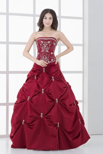 Dressesmall Chic Strapless Satin Long Embroidery Ball Gown Formal Dress
