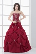 Strapless Ruffles Embroidery Long Satin Ball Grown Wedding Dress