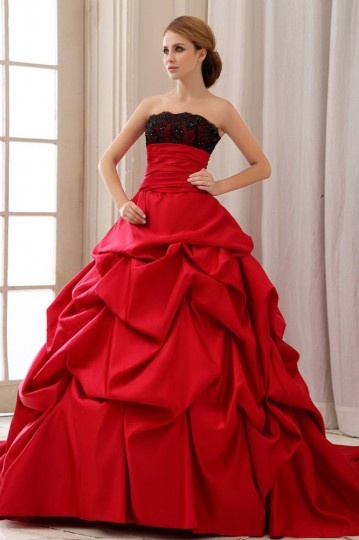 Red Ruffles Back Lace Up Court Train Satin Ball Gown Wedding Dress