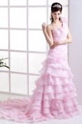 Organza Flowers One Shoulder Cathedral Train Mermaid Bridal Gown