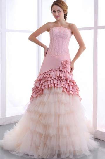 Taffeta Beading Ruffles Sweep Mermaid Bridal Gown Wedding Dress